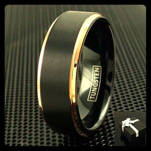 Handsome Tungsten Ring with Gold Toned Embroidery